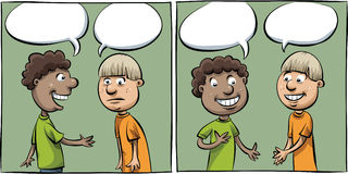 Conversation Panels. Two cartoon panels of two boys having a friendly conversation vector illustration