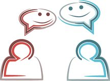 Conversation. Party conversation company opinion talk idea crowd think speech human abstract bubble grey team two line brush stock illustration