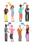 Conversation between people of different age, gender and nationality. Man and woman talking with speech bubbles vector stock illustration