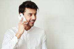 Conversation on phone Stock Photography