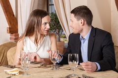 Conversation in a restaurant Royalty Free Stock Photo