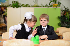 The conversation schoolchild. Royalty Free Stock Image