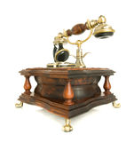 Conversation. Side view of antique telephone. Isolated (wide-angle shot stock photos