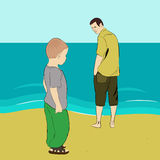 Conversation with son. Illustration of father and son on the beach Royalty Free Stock Photography