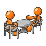 Conversation at table. Cartoon figures sitting at table and conversing; part of orange man series Stock Photos