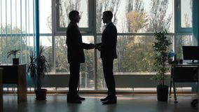 Conversation between two businessmen. Silhouettes stock footage