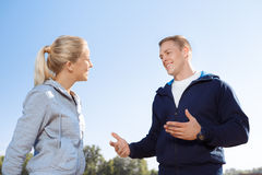 Conversation of two friends outdoor Royalty Free Stock Photography