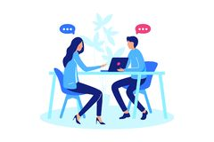 Conversation between two person. Concept meeting woman and man, chat, online and real communication. Vector illustration stock illustration