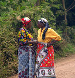 Conversation of two Tanzanian women. Two Tanzanian woman talking on the road Stock Photos