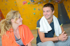 Conversation in wall climbing site Royalty Free Stock Photo