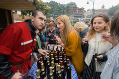 Conversation about wine tasting during popular georgian festival Stock Image