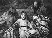 The conversation of the young Christ with the wise men. Public domain. From the book: an Album of historic paintings. 1890 stock illustration