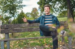 Conversational friendly young man outdoor - outside royalty free stock photos