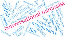 Conversational Narcissist Word Cloud. On a white background Stock Photo