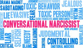Conversational Narcissist Word Cloud. On a white background Royalty Free Stock Photos