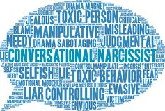 Conversational Narcissist Word Cloud. On a white background Royalty Free Stock Photography