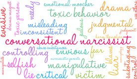 Conversational Narcissist Word Cloud. On a white background Stock Photos
