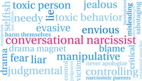 Conversational Narcissist Word Cloud. On a white background Stock Image