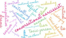 Conversational Narcissist Word Cloud. On a white background Stock Images
