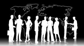 Conversations. Worldmap with white shine and white silhouettes of businesspeople The worldmap is free designed in photoshop by ourselves stock illustration