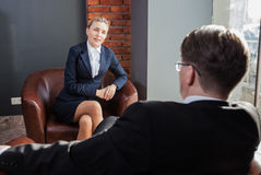 Conversations of businesspeople Stock Images