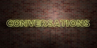 CONVERSATIONS - fluorescent Neon tube Sign on brickwork - Front view - 3D rendered royalty free stock picture. Can be used for online banner ads and direct stock illustration