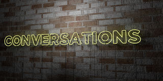 CONVERSATIONS - Glowing Neon Sign on stonework wall - 3D rendered royalty free stock illustration. Can be used for online banner ads and direct mailers royalty free illustration