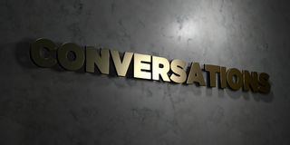 Conversations - Gold text on black background - 3D rendered royalty free stock picture. This image can be used for an online website banner ad or a print royalty free illustration