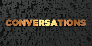 Conversations - Gold text on black background - 3D rendered royalty free stock picture. This image can be used for an online website banner ad or a print vector illustration