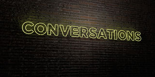 CONVERSATIONS -Realistic Neon Sign on Brick Wall background - 3D rendered royalty free stock image. Can be used for online banner ads and direct mailers royalty free illustration