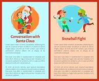 Conversazione con Santa, cartoline di lotte della palla di neve illustrazione di stock