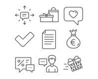 Conversazione della persona, icone del messaggio di amore e dei regali Borsa dei soldi, del segno di spunta e segni di Sms illustrazione di stock
