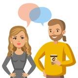 Conversazione delle donne e dell'uomo Conversazione delle coppie o dei colleghi Vettore illustrazione vettoriale