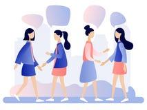 Conversazione delle donne La gente discute la rete sociale, notizie, reti sociali, chiacchierata, fumetti di dialogo Stile piano  royalty illustrazione gratis