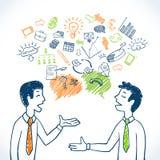 Conversazione di affari di scarabocchio royalty illustrazione gratis