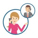 Conversazione di telefono cellulare fra due persone illustrazione vettoriale