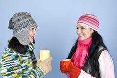 Conversazione e risata della donna degli amici Immagini Stock