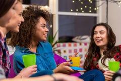 Conversazione femminile africana felice con gli amici Immagini Stock