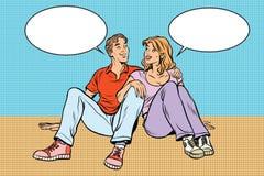 Conversazione giovane dell'uomo e della donna delle coppie royalty illustrazione gratis