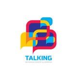 Conversazione - i fumetti vector l'illustrazione di concetto di logo nello stile piano Icona di dialogo royalty illustrazione gratis