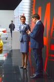 Conversazione internazionale del gruppo di BMW del salone dell'automobile di Mosca Immagine Stock Libera da Diritti