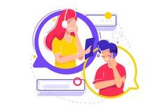 Conversazione mobile dell'uomo con la giovane donna di sostegno royalty illustrazione gratis