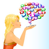 Conversazione sociale dei messaggi del segno di media della ragazza royalty illustrazione gratis
