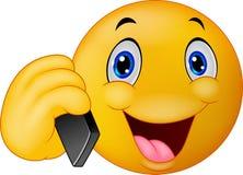 Conversazione sorridente dell'emoticon sul telefono cellulare Immagine Stock Libera da Diritti