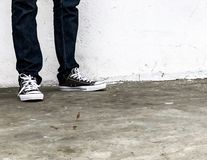 Converse all star sneakers black royalty free stock images