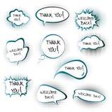 Converse bolhas com agradecem-lhe e dão-nos boas-vindas para trás ao messa Foto de Stock