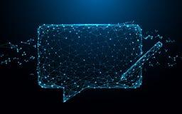 Converse linhas do formulário do ícone das mensagens, triângulos e projeto do estilo da partícula ilustração stock