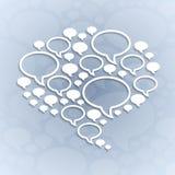 Converse o símbolo da bolha na luz - fundo cinzento Fotos de Stock