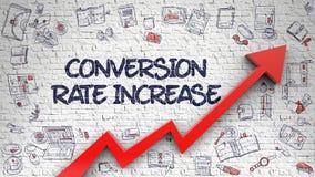 Conversión Rate Increase Drawn en la pared blanca 3d Imágenes de archivo libres de regalías