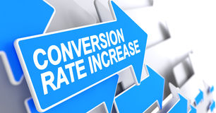 Conversión Rate Increase - etiqueta en indicador azul 3d Imagen de archivo